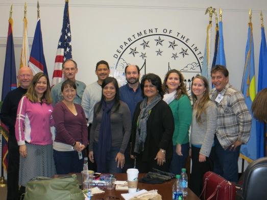 ​AIC members and advisors in Washington D.C., February 2014. From left to right: Damaris Delgado (Puerto Rico), Carey Morishige (Secretariat director), Gerry Davis (Advisor), JP Oriol (USVI), Fran Castro (CNMI), Bob Richmond, PhD (Advisor), Ruth Matagi-Tofiga, PhD (American Samoa), Joanna Walczak (Florida), Emma Anders (Hawaii), and Joseph Cameron (Guam). Credit: AIC